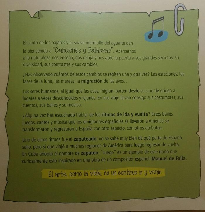 propuesta de actividades, canciones y palabras