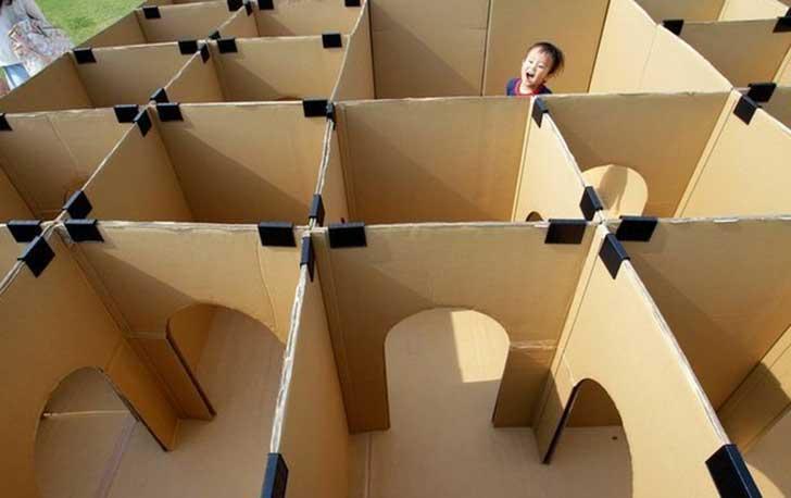 laberinto diy cartón