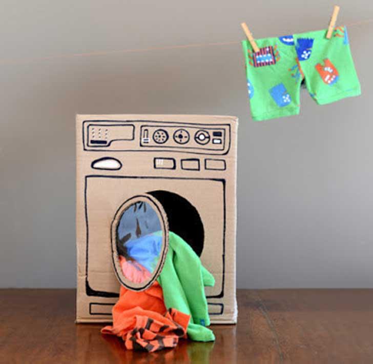 lavadora diy cartón